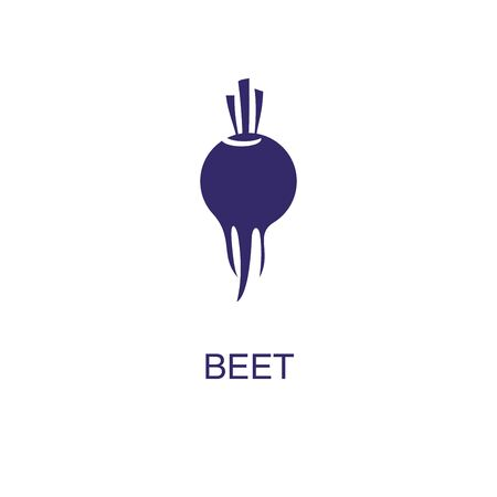 Beet element in flat simple style on white background. Beet icon, with text name concept template