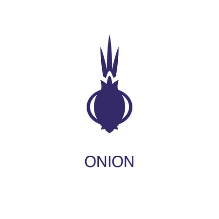 Onion element in flat simple style on white background. Onion icon, with text name concept template
