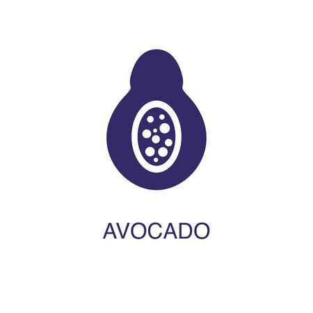 Avocado element in flat simple style on white background. Avocado icon, with text name concept template