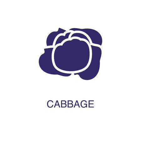 Cabbage element in flat simple style on white background. Cabbage icon, with text name concept template