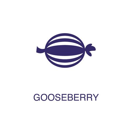 Gooseberry element in flat simple style on white background. Gooseberry icon, with text name concept template