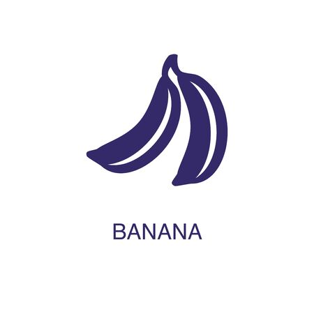 Banana element in flat simple style on white background. Banana icon, with text name concept template