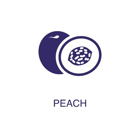 Peach element in flat simple style on white background. Peach icon, with text name concept template