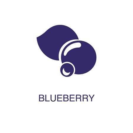 Blueberry element in flat simple style on white background. Blueberry icon, with text name concept template