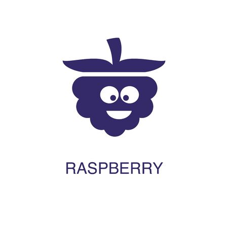Raspberry element in flat simple style on white background. Raspberry icon, with text name concept template