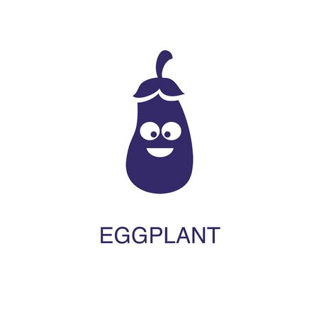 Eggplant element in flat simple style on white background. Eggplant icon, with text name concept template