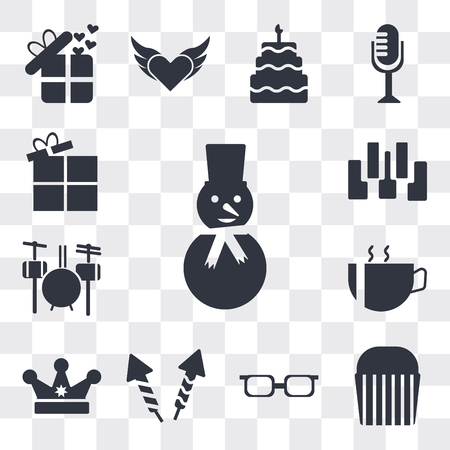 Set Of 13 simple editable icons such as Happy snowman, Muffin Bake, Teenager with sun glasses, Firework rocket, King crown, Hot coffee cup hearts, Drummer Set, web ui icon pack Vectores