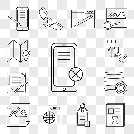 Set Of 13 simple editable icons such as Smartphone, List, Price tag, Browser, Image, Database, Notebook, Calendar, Map, web ui icon pack 矢量图像