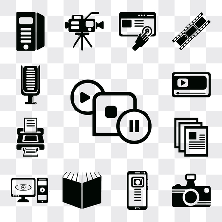 Set Of 13 simple editable icons such as Image with frame, Photo camera, Mobile phone, Open book black cover, Computer and monitor, Printer blank paper sheet, Printer, web ui icon pack