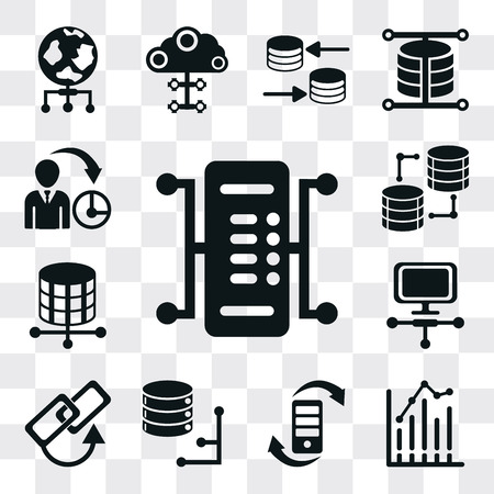 Set Of 13 simple editable icons such as Server, Bar chart, Transfer, Database, Link, Laptop, Storage, Management, web ui icon pack