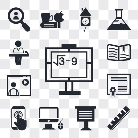 Set Of 13 simple editable icons such as Math class, Ruler, Teacher giving lecture, Monitor and computer mouse, Touch screen, Graduation Diploma, Video Open book, web ui icon pack