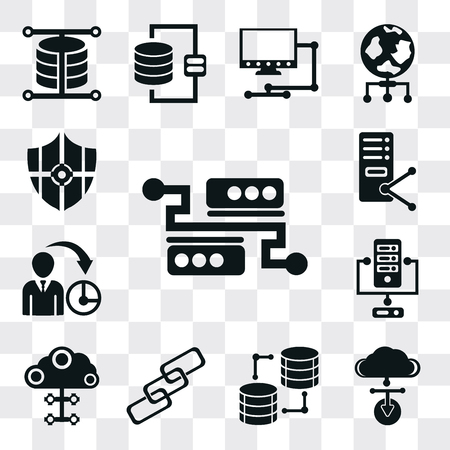 Set Of 13 simple editable icons such as Server, Cloud computing, Database, Link, Management, Protected, web ui icon pack