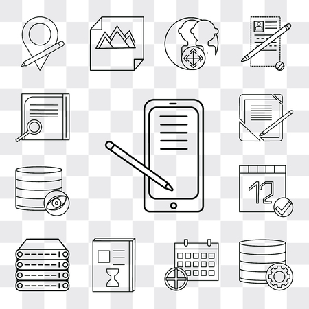 Set Of 13 simple editable icons such as Smartphone, Database,