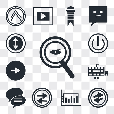 Set Of 13 simple editable icons such as Magnifying Glass Searcher, o Arrow, Bar diagram, Press play button, Conversation speech bubbles, Keyboard, Play web ui icon pack