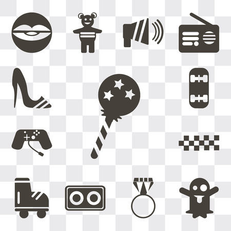 Set Of 13 simple editable icons such as Lollipop, Ghost, Ring pop, Cassette, Roller skate, Cubes, Joystick, Skateboard, High heels, web ui icon pack Vectores