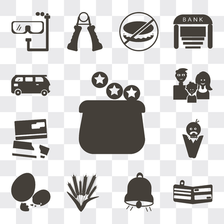 Set Of 13 simple editable icons such as Earn money, Card wallet, Big bell, Ear of wheat, Eggs sillhouettes, Baby wrapped on swaddling clothes, Cit cards, Family avatars, Bus, web ui icon pack