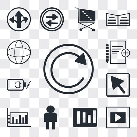 Set Of 13 simple editable icons such as Refresh button, Frame, Rounded Corners square, User Avatar, Bar diagram, Mouse arrow, Battery power, Add new document, Grid world, web ui icon pack
