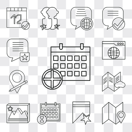 Set Of 13 simple editable icons such as Calendar, Map, Bookmark, Image, File, Placeholder, Browser, Speech bubble, web ui icon pack 矢量图像