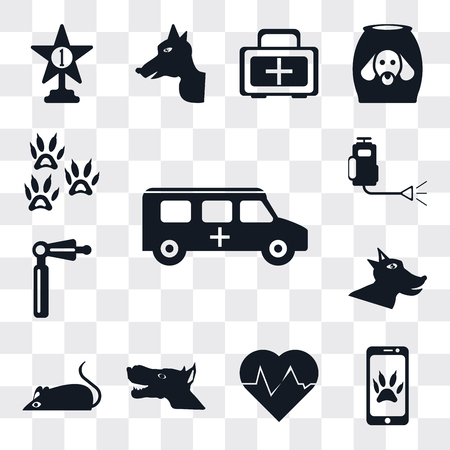 Set Of 13 simple editable icons such as Ambulance, Smartphone, Heartbeat, Dog, Mouse, Otoscope, Insecticide, Footprint, web ui icon pack