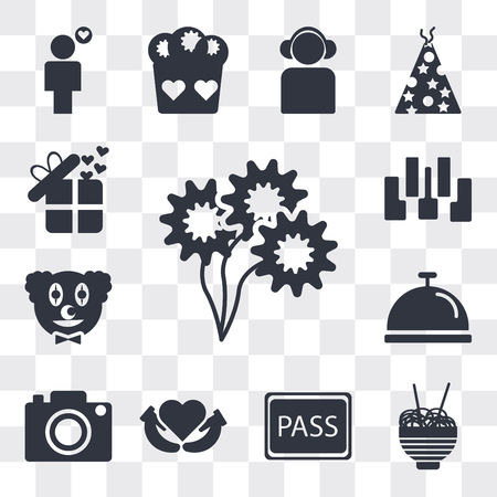 Set Of 13 simple editable icons such as Daisy Bouquet, Chinese food box, VIP pass, Heart between hands, Digital Photo Camera, Cove tray, Clown head, Seven piano keys, web ui icon pack
