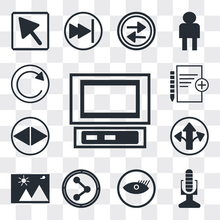 Set Of 13 simple editable icons such as Laptop frontal monitor, Broadcast microphone, Watch dark eye, Share, Landscape Image, Turn right arrow, Navigation web ui icon pack