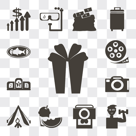 Set Of 13 simple editable icons such as Gift box with ribbon, Exercise dumbbells, Camera and heart picture, Slice of melon juice, Camping tent, front view, web ui icon pack