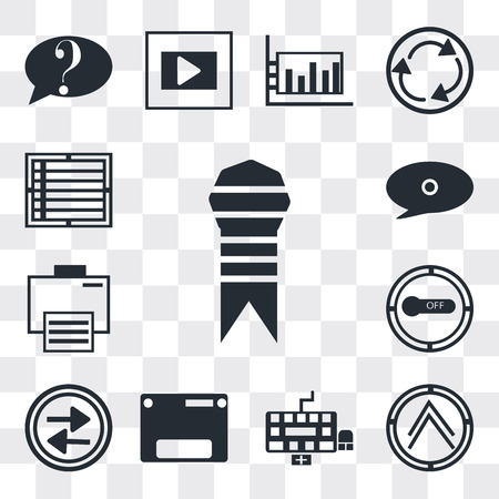 Set Of 13 simple editable icons such as Ribbon from a book, Pointing up arrow, Keyboard, Web page variant, Press play button, Button on off, Electronic print machine, web ui icon pack Illustration