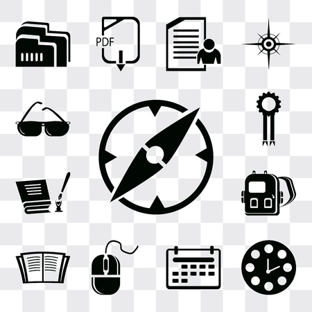 Set Of 13 simple editable icons such as Compass, Clock, Calendar, Mouse, Open book, Backpack, Diploma, Medal, Sunglasses, web ui icon pack