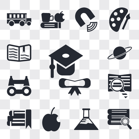 Set Of 13 simple editable icons such as Graduation, Stack of books and magnifier, Erlenmeyer flask, Apple, eBook, Book Binoculars, Planet Saturn, Open book, web ui icon pack Иллюстрация