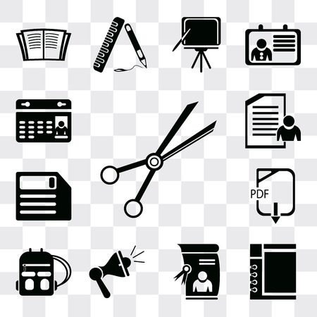 Set Of 13 simple editable icons such as School material, Notepad, Diploma, Megaphone, Backpack, Pdf, Diskette, Exam, Calendar, web ui icon pack