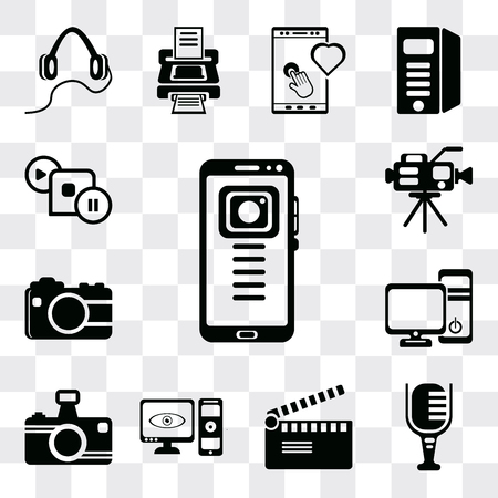 Set Of 13 simple editable icons such as Mobile phone, Mic, Movie clapper, Computer and monitor, Photo camera, tower the Video web ui icon pack 일러스트