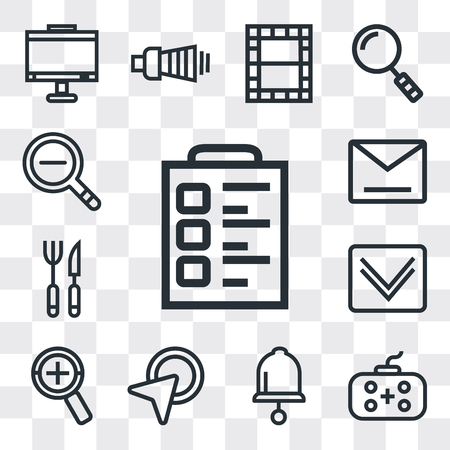 Set Of 13 simple editable icons such as Padnote, Gamepad, Bell, Cursor, Zoom, Down arrow, Cutlery, Envelope, Zoom out, web ui icon pack