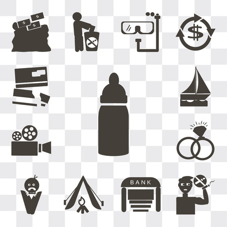 Set Of 13 simple editable icons such as Baby Bottle, No smoking pipe, Bank, Camping tent, wrapped on swaddling clothes, Interlocking rings, Video camera, web ui icon pack