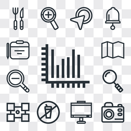 Set Of 13 simple editable icons such as Stats, Photo camera, Monitor, Prohibition, Layout, Search, Zoom out, Map, Calendar, web ui icon pack Ilustrace