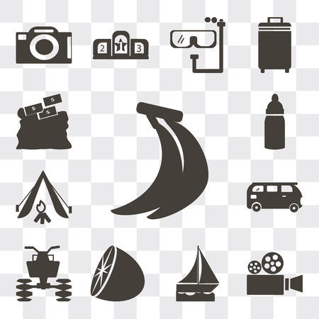 Set Of 13 simple editable icons such as Bananas, Video camera, Sailboat drifting, Citrus fruits, All terrain vehicle, Bus, Camping tent, Baby Bottle, Purpose of saving money, web ui icon pack
