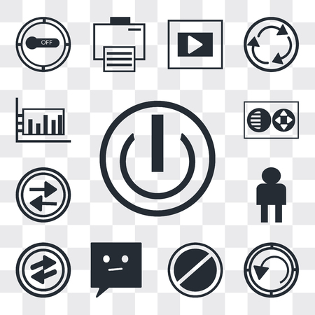 Set Of 13 simple editable icons such as On off power button, Rotate circle, Prohibition Circle, Chat speech bubbles, o Arrow, User Avatar, Press play Full web ui icon pack Ilustração