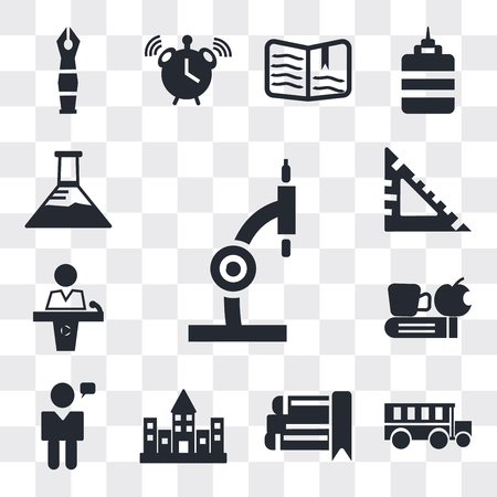 Set Of 13 simple editable icons such as Microscope, School bus, eBook, University campus, Man talking, Time to have a break, Conference hall, square, Erlenmeyer flask, web ui icon pack Иллюстрация