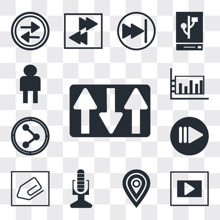 Set Of 13 simple editable icons such as Key up, Frame, Map pointer, Broadcast microphone, Clip, Play button, Share, Bar diagram, User Avatar, web ui icon pack