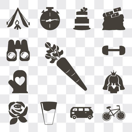 Set Of 13 simple editable icons such as Carrot, Cyclist, Bus, Glass of water with drop, Rose, Bride avatar, Cooking mitts, Gym weight, Pair binoculars, web ui icon pack