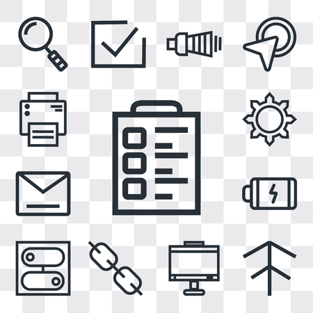 Set Of 13 simple editable icons such as Padnote, Up arrow, Monitor, Link, Switch, Battery, Envelope, Settings, Printer, web ui icon pack Illustration