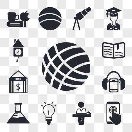 Ensemble de 13 icônes modifiables simples telles que volley-ball, écran tactile, salle de conférence, boule lumineuse, flacon Erlenmeyer, lecteur MP3 avec casque, banque, livre ouvert, horloge murale, pack d'icônes web ui Vecteurs