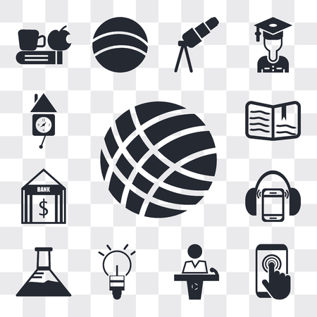 Set Of 13 simple editable icons such as Volley ball, Touch screen, Conference hall, Light Ball, Erlenmeyer flask, Mp3 player with headphones, Bank, Open book, Wall clock, web ui icon pack Illustration
