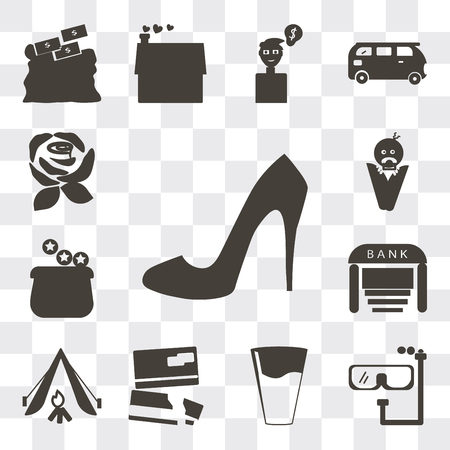 Set Of 13 simple editable icons such as Shoe side view, Diving goggles, Glass of water with drop, Cit cards, Camping tent, Bank, Earn money, web ui icon pack