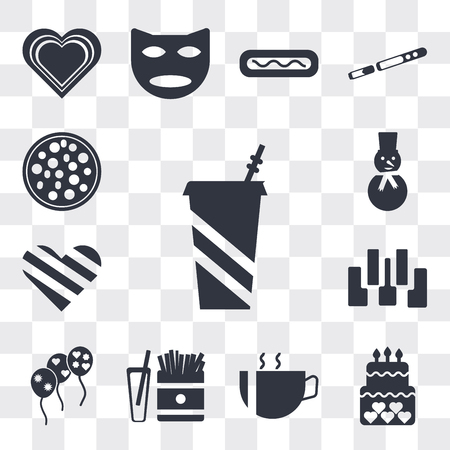 Set Of 13 simple editable icons such as Soda Drink, Birthday cake, Hot coffee cup with hearts, French fries box, Stars balloons, Seven piano keys, Giving Love, Happy snowman, web ui icon pack