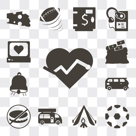 Set Of 13 simple editable icons such as Electrocardiogram on heart shape, Soccer ball with pentagons, Camping tent, Caravan, Forbidden burguer, Bus, Big bell, web ui icon pack Illustration
