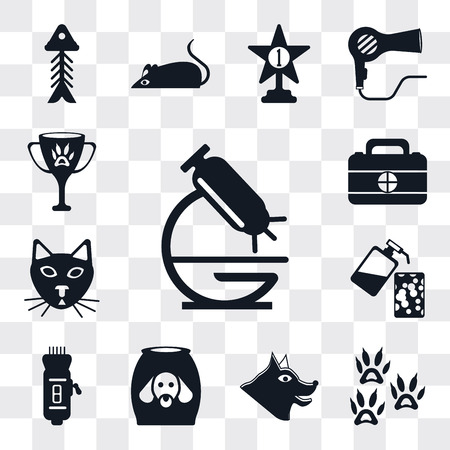 Set Of 13 simple editable icons such as Microscope, Footprint, Canine, Food, Clipper, Soap, Cat, First aid kit, Award, web ui icon pack
