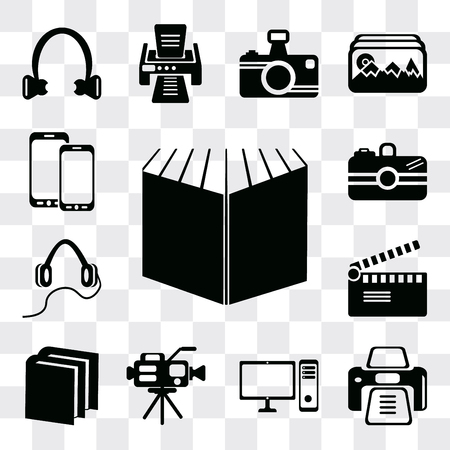 Set Of 13 simple editable icons such as Open book black cover, Printer tool, PC computer with monitor, Video camera, Book of Movie clapper, Headphones, Camera, web ui icon pack Vectores