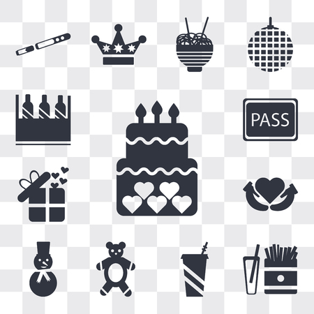 Set Of 13 simple editable icons such as Birthday cake, French fries box, Soda Drink, Teddy Bear with sleep hat, Happy snowman, Heart between hands, present, web ui icon pack