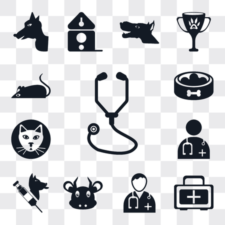 Set Of 13 simple editable icons such as Stethoscope, First aid kit, Doctor, Cow, Veterinarian, Cat, Food, Mouse, web ui icon pack