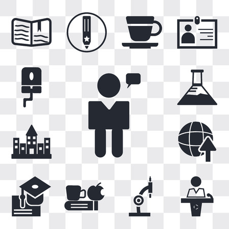 Set Of 13 simple editable icons such as Man talking, Conference hall, Microscope, Time to have a break, Graduation ceremony, International Studies, University campus, web ui icon pack 矢量图像